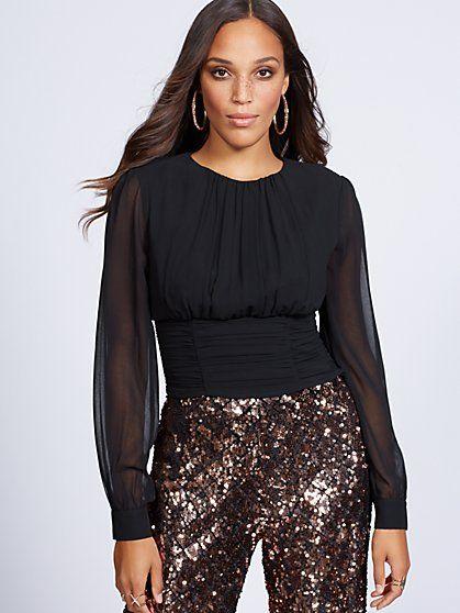 902e0a8dba4 Gabrielle Union Collection - Black Shirred Blouse - New York   Company