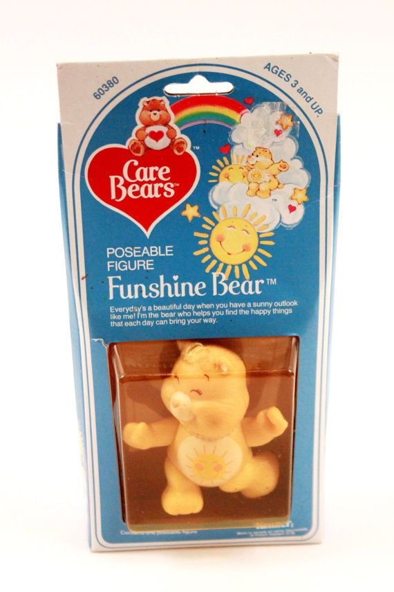 Care Bear Vintage Poseable Funshine Bear Figure PVC by ThePinkRoom