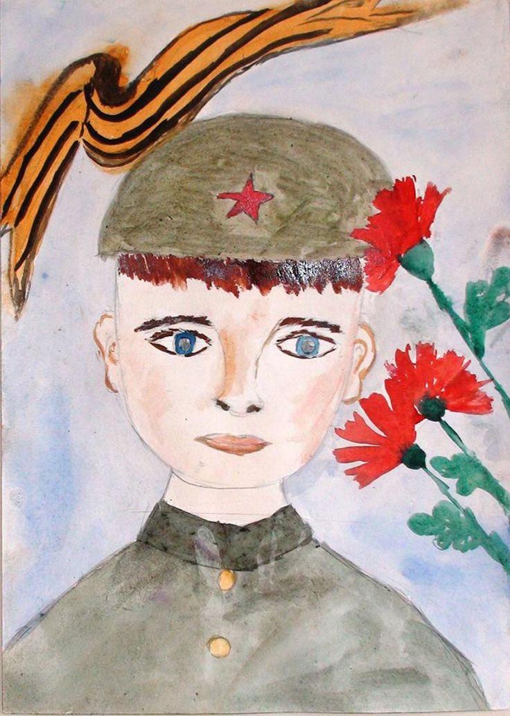 Красивый солдат с голубыми глазами и красные маки.