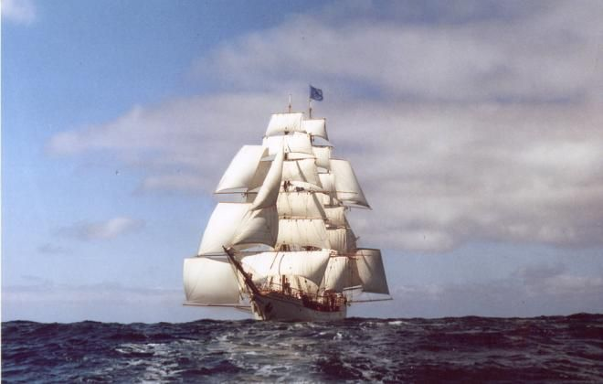 Advanced Square Rig Bark Europa can set 30 sails - Enough said, maybe.... She can rig skysail masts and yards on two masts She carries Stunsail booms and whisker poles for her forecourse and main course.
