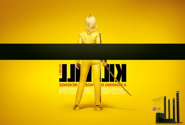 cool campaign from Y Sao Paulo, for LG Home Theater 3D. Really simple idea that tells us what you can expect from the product (i.e. a 3D movie-watching and listening experience). Is giving me a lot of cool ideas of how to play with space and dimensions and the like. This one is, obviously, Kill Bill.