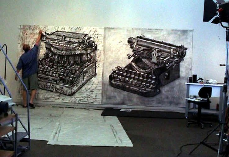 William Kentridge uses drawing with charcoal to create wonderful works. He then uses the images to make animated movies.