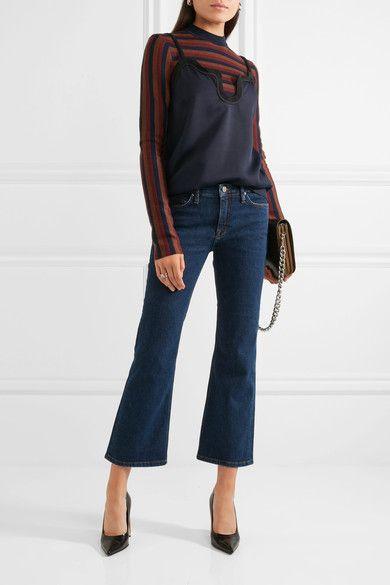 Dark-blue stretch-denim Button and concealed zip fastening at front 93% cotton, 5% polyester, 2% elastane Machine wash