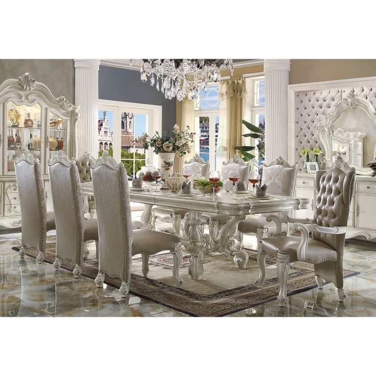 Acme Furniture Versailles Rectangular Pedestal Dining Table