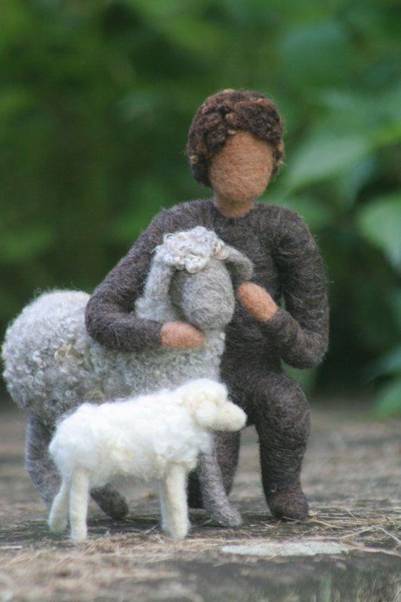 Nativity Set- Needle Felted Shepherds and Sheep