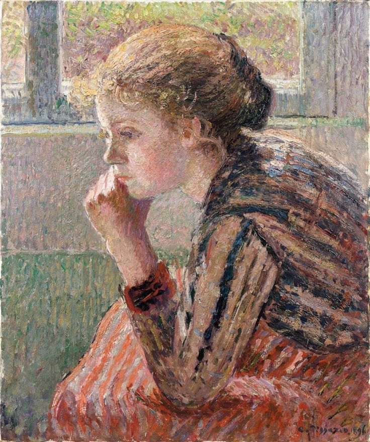 """Head of a young girl in profile called """"La Rosa"""" (1896) by Camille Pissarro (missfolly)"""