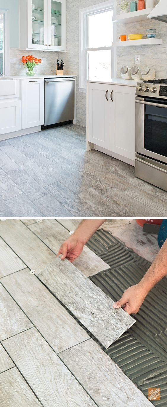 Wood-look tile combines the natural warmth of wood with the durability and easy care of porcelain. That makes it a great choice for kitchen flooring. And we can install it for you! Take a look at our entire Marazzi tile selection for the kitchen, or just about any room in your home. (Tile shown here is Montagna Dapple Gray):
