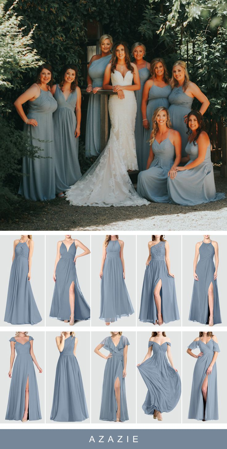 Looking for something blue for your wedding? Dress your bridesmaid in this romantic dusty blue! Available in sizes 0-30 and free custom sizing! Every woman deserves their dream dress, that fits right while still being budget friendly! #azazie #weddingideas #weddingcolors #dustybluebridesmaiddresses #bridesmaiddresses #bridesmaids