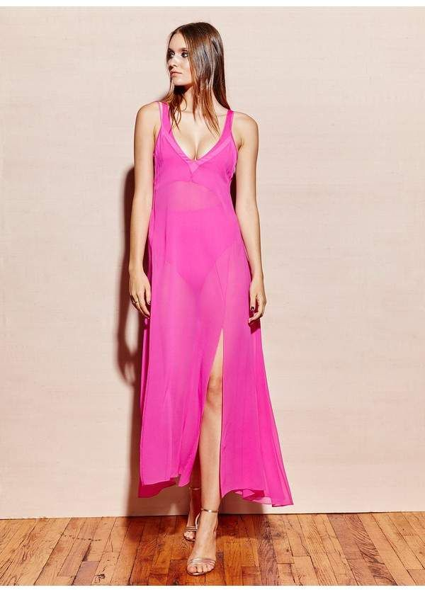 3df70d623869 Fleur Du Mal Full Sweep Silk Slip Dress - Orchard Mile | Resort Chic. Now  in Fun Pink, this slip dress is perfect from day to night on any vacation.