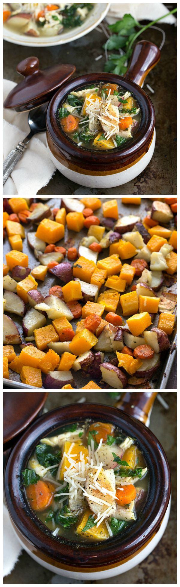 A healthy Roasted Butternut Squash, Red Potato, and Kale Soup #cleaneating #soup #butternutsquash