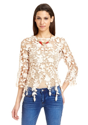 MISS FINCH Three-Quarter Sleeve Lace Top