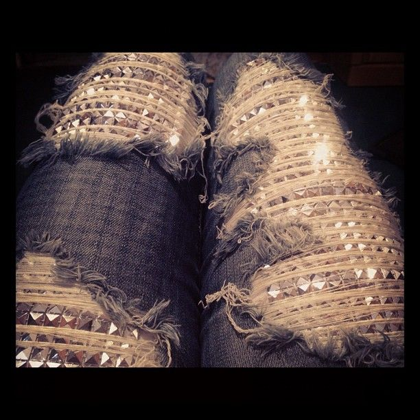 omgsh ripped studded sparkle jeans <3 I have pants like this, but instead of studs it's a sparkly metal.