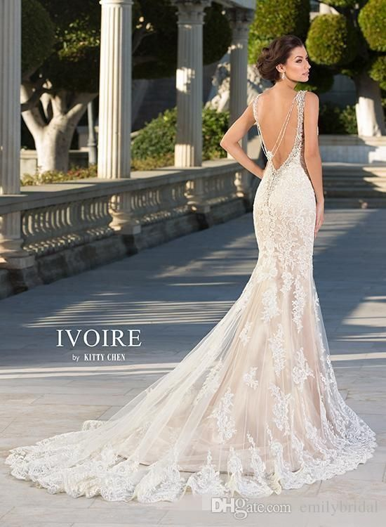 Buy wholesale kitty chen 2015 new mermaid wedding dresses lace bridal gowns sexy…