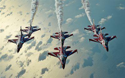 Scarica sfondi i cavalieri neri, f-16, fighting falcon