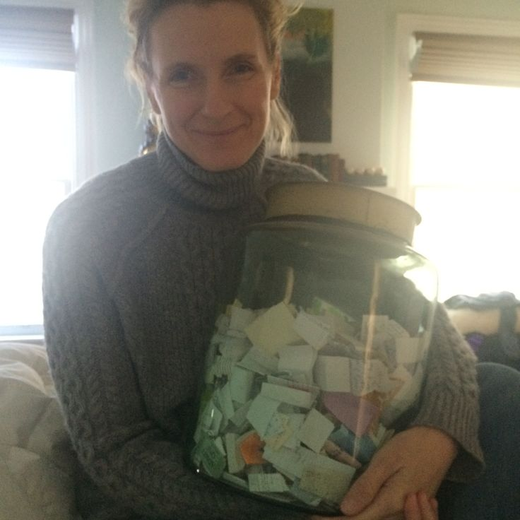 Liz Gilbert with her Happiness Jar! www.elizabethgilbert.com