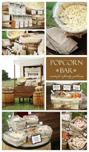 What better way to enjoy a summer outdoor movie party than having a popcorn bar for your guests! @Misty Schroeder Schroeder-Juneberry Lane by Linda Oly
