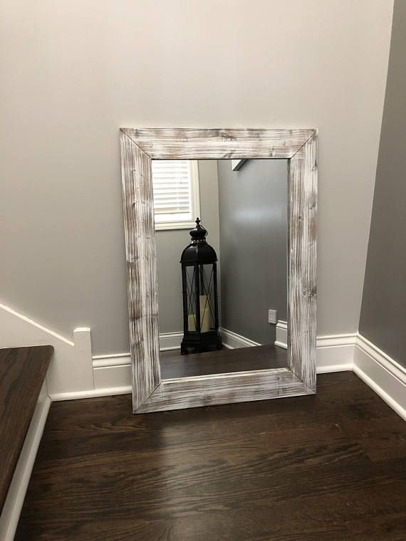 Whitewash Mirror Wood Frame Mirror Rustic Wood Mirror Bathroom Mirror Whitewashed Wall Mirror Vani Mirror Wall Living Room Rustic Wall Mirrors Mirror Wall