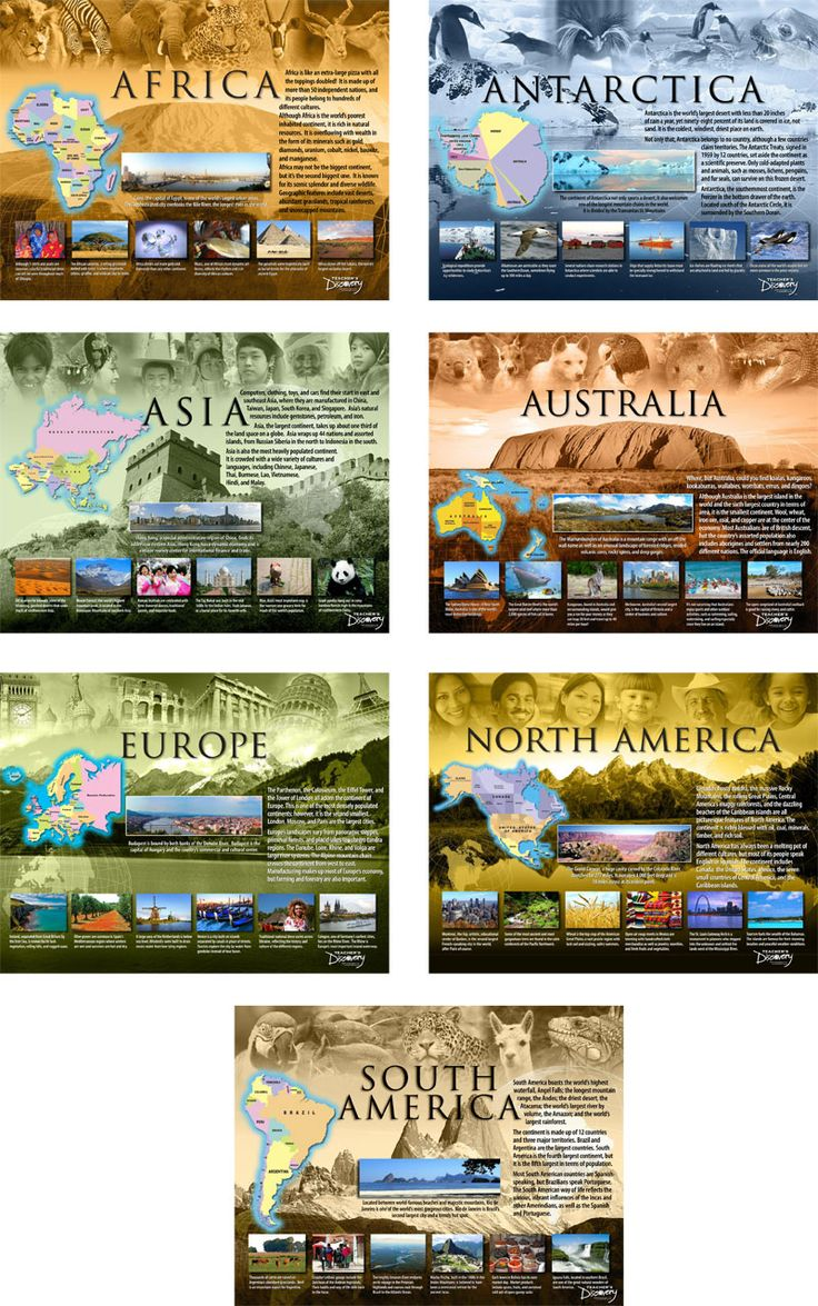 Where will you go today?    Students discover what is unique about each continent through colorful images and fascinating facts. Learn about the geography, climate, culture, resources, animals, and famous landmarks. They're so attractive; you'll want to keep them up as a permanent classroom decoration!  This set features:   Antarctica  Africa  Asia  Australia  Europe  North America  South America   ©2009 Teacher's Discovery. 17 x 22 inches each, laminated. Middle/high school. Includes a f...