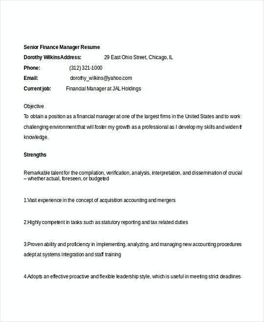 Senior Finance Manager resume template , Professional Manager Resume , Applying for a job without a great resume is a lie. Read our article about making good professional manager resume that you can implement in another kind of resume you want.