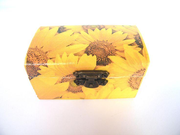 Sunflower Wooden jewelry box, small memory box, yellow storage box, shabby chic, handmade keepsake box , gift for her, summer flower box by KristanArt on Etsy