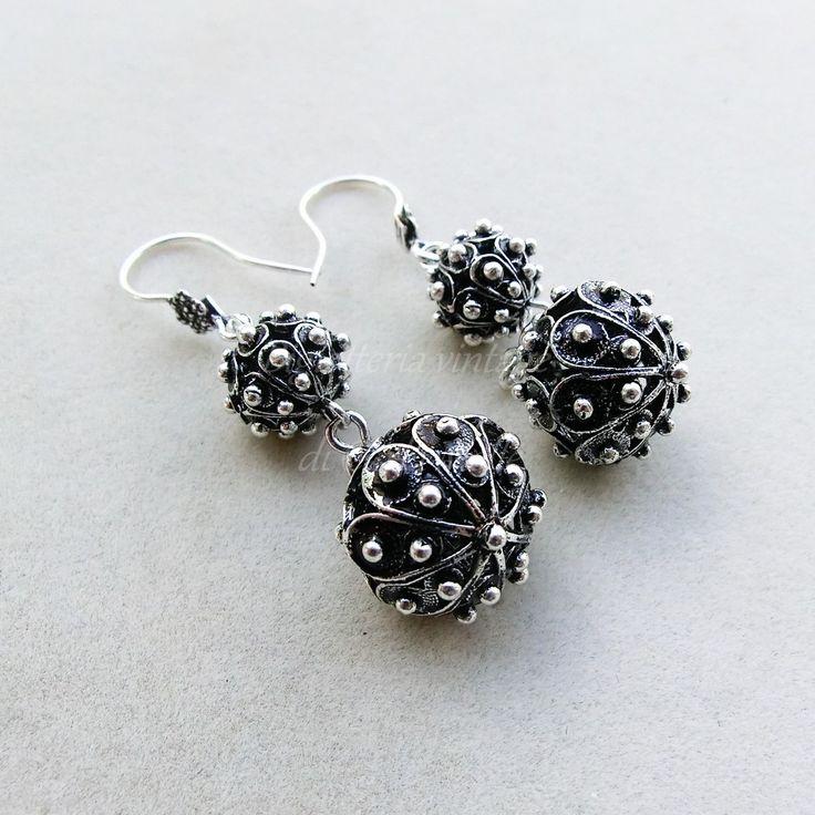 Orecchini pendenti argento 800 doppia sfera filigrana sarda