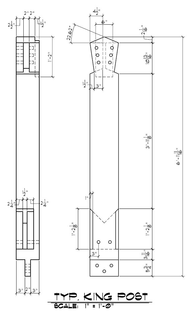 Often used in timber frame construction this is a king post piece drawing example and has great detail.