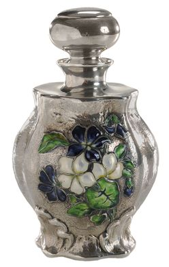 Perfume Bottle; Art Nouveau, Enameled Glass, Violets & Leaves, Gorham Sterling Silver, Ball Stopper, 6 inch. Year: 1897