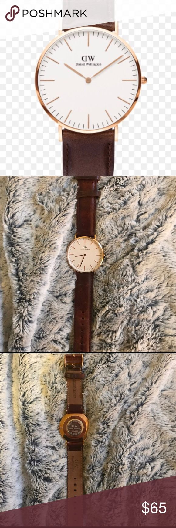 Daniel Wellington worn leather watch Barely worn Daniel Wellington watch. Given to me as a present. Beautiful worn leather and gold hardware details. Needs a new battery. Priced to sell! Daniel Wellington Accessories Watches