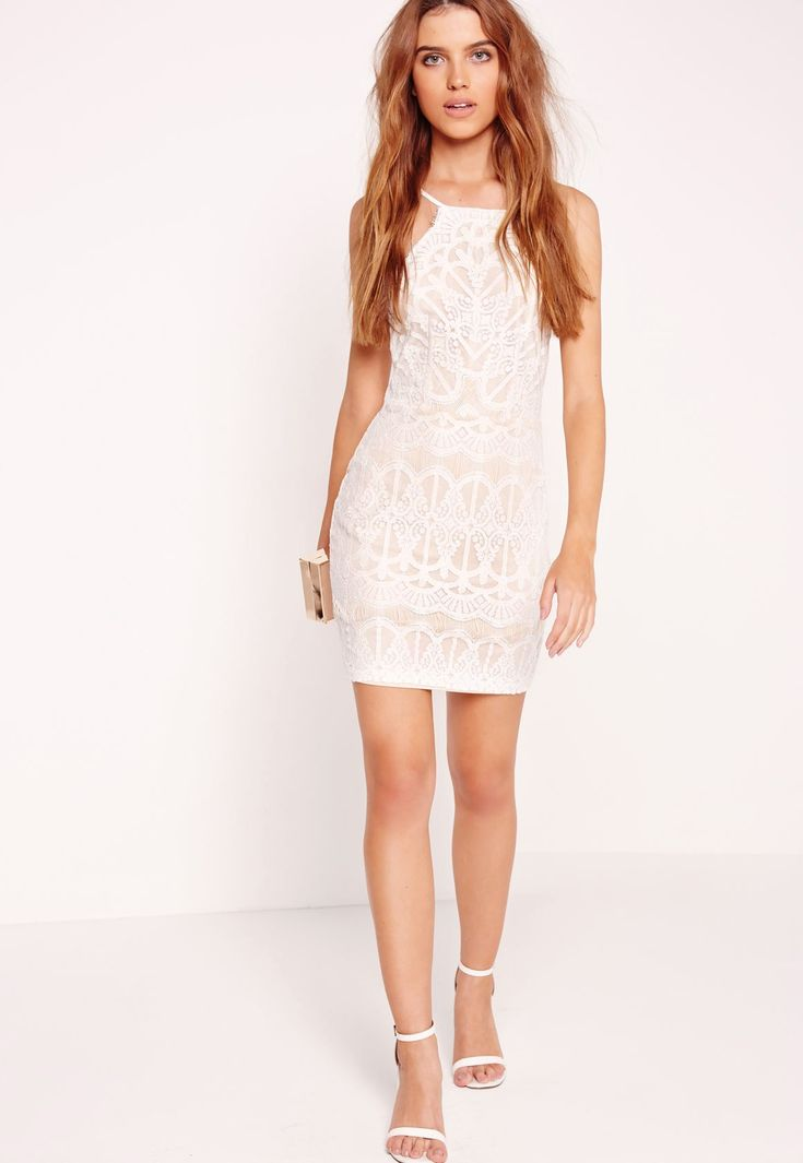 Missguided - Lace Strappy Bodycon Dress Nude/White