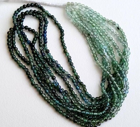 WHOLESALE 5 Strands Blue Green Shaded Tourmaline Beads Rare