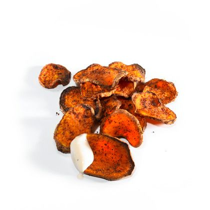 Oven Roasted Sweet Potato Chips with Ranch Dip