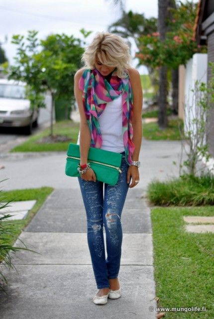 I am not sure where everything is from, but the idea here is look how easy it is to dress up a simple white tank & jeans with a colorful, patterned scarf!!! Oh the possibilities are endless kids:)