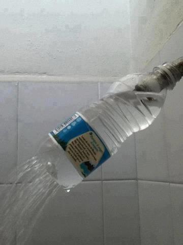 Plastic bottle shower head!  for an outdoor shower?