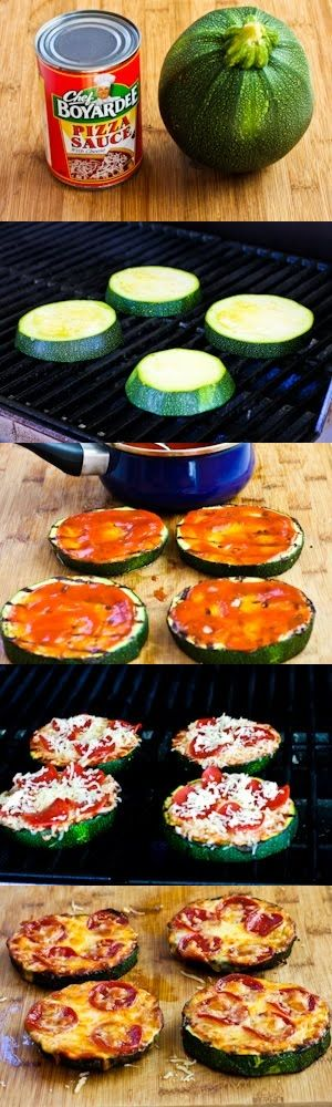 Grilled Zucchini Pizza Slices, they look yummy! I will be trying these! im getting a little tired of cauliflower pizza!