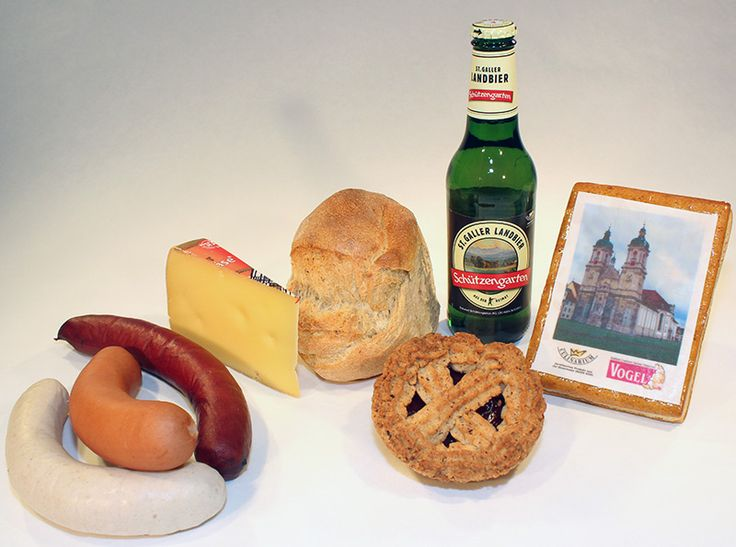 Gallus, das Grosse -  Fleisch: Schüblig, Bratwurst, Stumpen,  Käse: St.Galler Klosterkäse,  Brot: St.Galler Brot,  Getränke: St.Galler Landbier,  Süsses: Klostertorte, Biber.