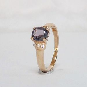 0.64 CT. Genuine Purple Spinel in Rose Gold Plated over Solid  Silver Ring Size:N-7            RI208