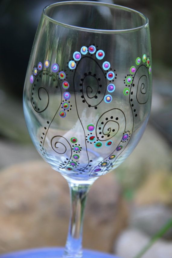 Wine Glasses - Hand Painted. BRITT. when we are both 21 we should make these and drink wine while watching a movie(?) and being awesome ^_^