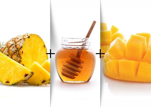 ... Smoothie ... mango, pineapple chunks, non-fat vanilla soy milk, honey