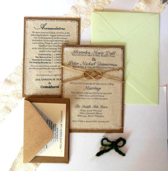 Diy Burlap Wedding Invitations Rustic Fabric Invitation Kit Custom Ideas Pinterest Kits