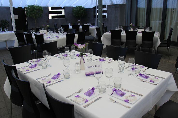 Lavender & white wedding table http://www.wanakaweddingflowers.co.nz/gallery/ Venue: The Venue, Wanaka