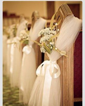 Love this idea to put at end of seats during ceremony just to sprue it up a bit