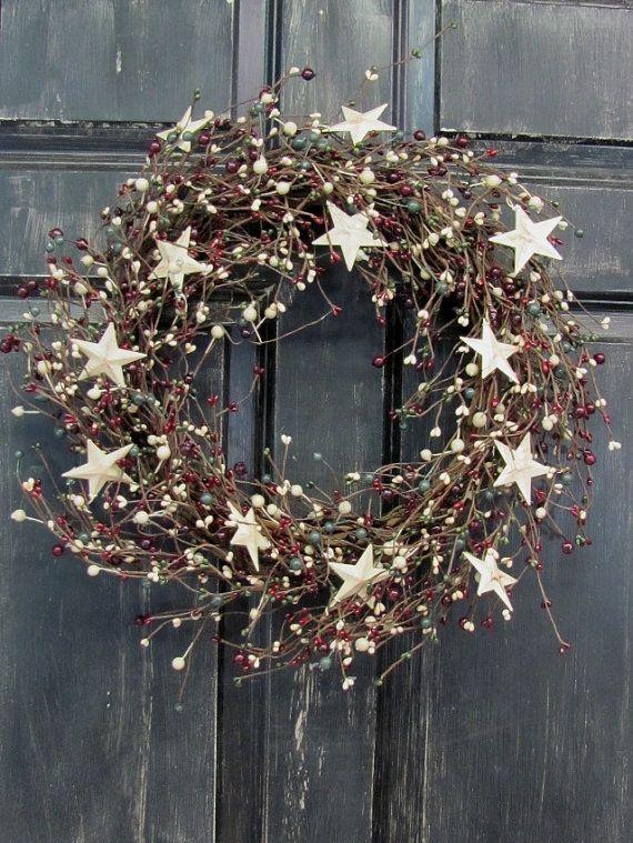 Primitive Christmas Front Door Wreath Pip Berry by Designawreath