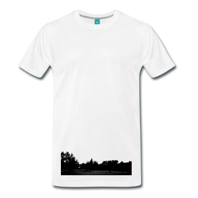 a not so common lower print. an image of a park in black and white, looks best on a white t-shirt available in various colours