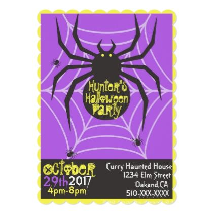 Black Widow Spider Halloween Party Invitation - invitations custom unique diy personalize occasions
