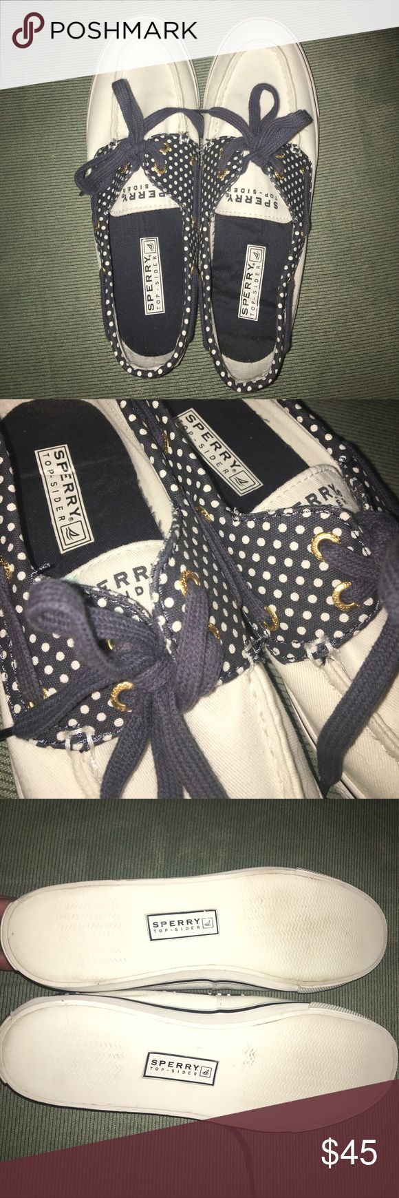 SALE! 🎈 canvas Sperry boat shoes White and navy polka dot canvas Sperry boat shoes. Worn once for a few hours. Size 7. Originally $60. Super cute! Sperry Shoes Flats & Loafers