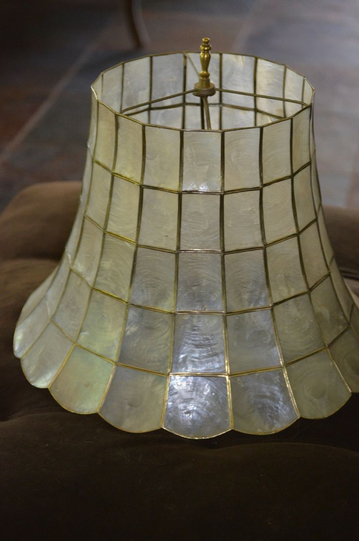 Capiz Shell Lamp Shade Rare Large Vintage by