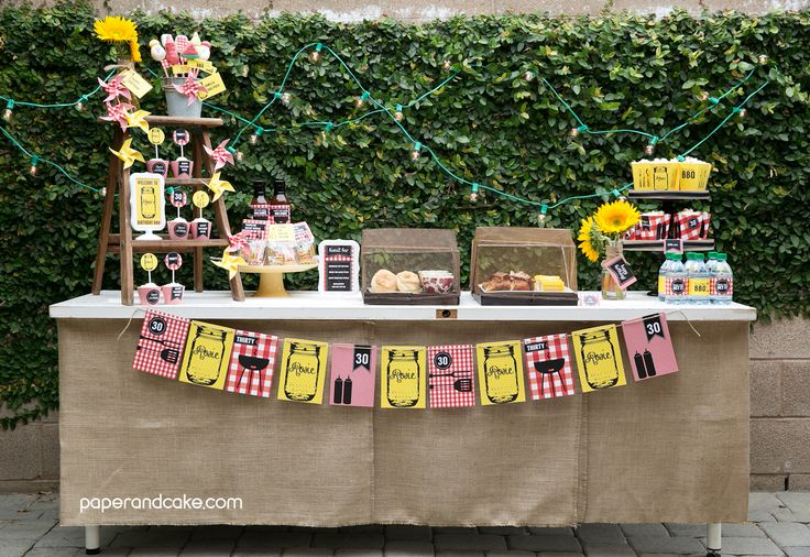 BBQ Printable Party   DIY party supplies   backyard BBQ   paper & cake printable partyware   mason jar   gingham   barbeque party