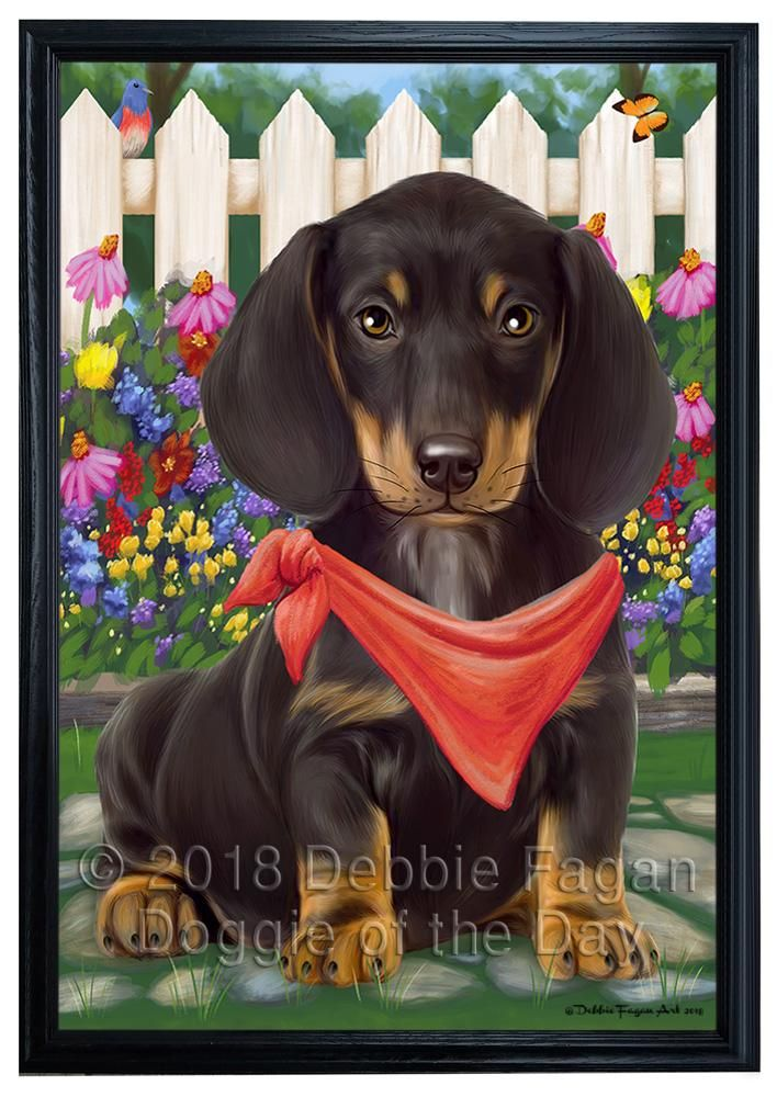 Spring Floral Dachshund Dog Framed Canvas Print Wall Art Fcvs79212