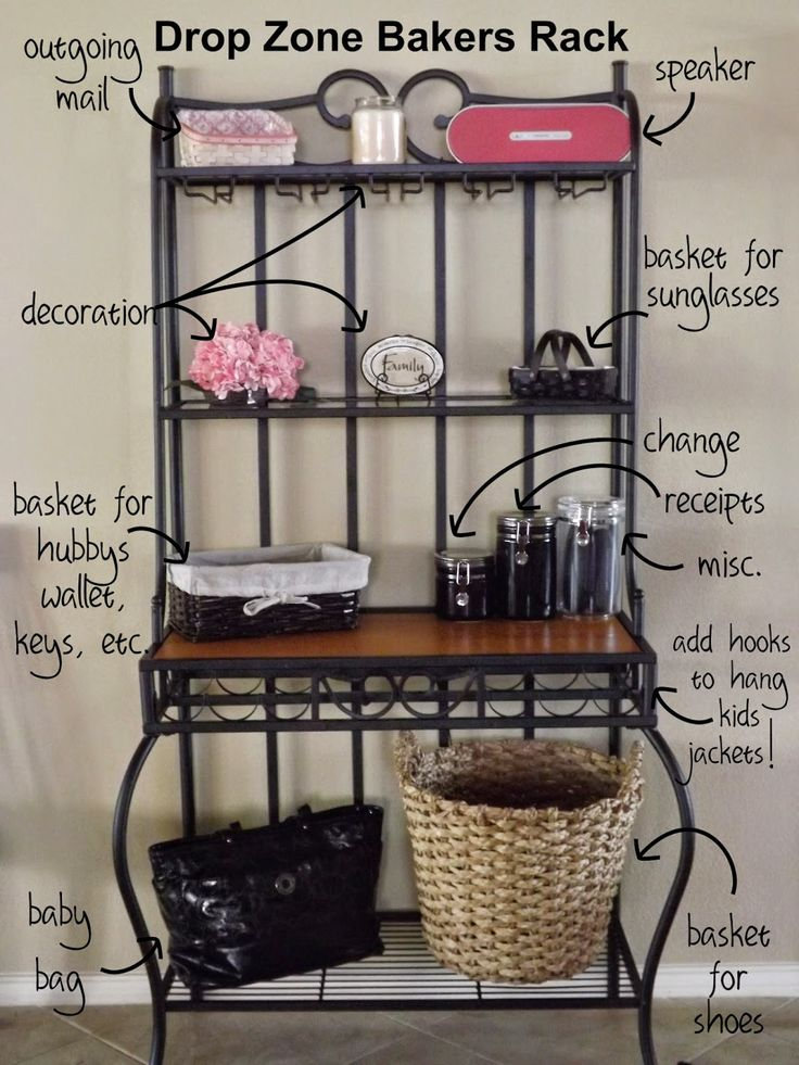 "Using a Bakers Rack as a ""Drop Zone."" Way more functional than one that just holds decorations, but still attractive!"