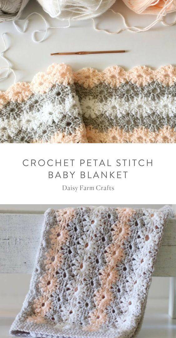 Free Pattern - Crochet Petal Stitch Baby Blanket #crochet ...